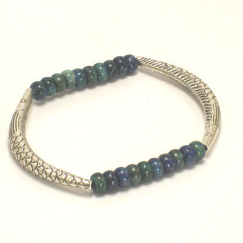 Thai Karen Hill Tribe Silver Fish Curve Tube Beaded Bracelet, Azurite Bracelet, Fish Bracelet, Tribal,