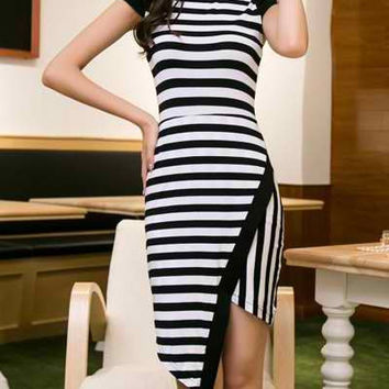 Black Striped Knee-Length Dress