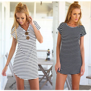 Stripes Printed Women Round Necked Short Sleeve One Piece Dress  Swallow Tail Women Dress Dress Shirt