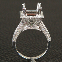 7mm Princess Cut Milgrain 1.01ct Diamonds Semi mount Ring Setting in 14K White Gold