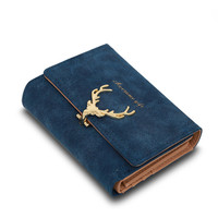 Latest Christmas Deer Women Leather Wallet VintageTri-Folds Luxury Cash  Purse Girl Small Black Clutch coin purses holders