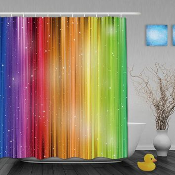 Magic Striped Rainbow Shower Curtains Waterproof Fabric Bathroom Curtain With Hooks Custom Shower Curtain For Home Decor