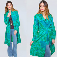 Vintage 70s SILK Jacket STAR of SIAM Asian Jade Green Floral & Butterfly Jacket Midi Ethnic Boho Jacket Light Coat