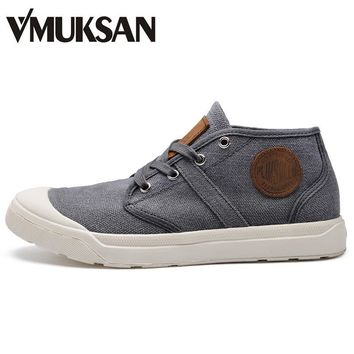 VMUKSAN 2017 New Winter Canvas Shoes Mens Boots High Quality Ankle Rubber Boots Round