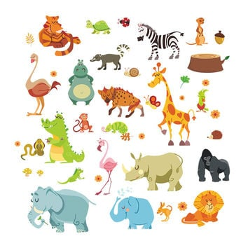 Jungle Adventure Animals Wall Stickers for Kids Rooms Safari Nursery Rooms Baby Home Decor Poster Monkey Wall Decals Wallpaper