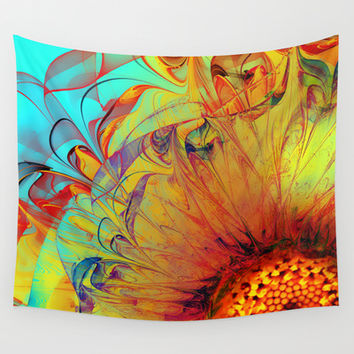 Sunflower Abstract Wall Tapestry by Klara Acel