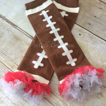 Football Scarlett and Gray Ohio State Leg Warmers-Baby leg warmers/Photo Prop and ruffles Football red and GRAY OSU inspired