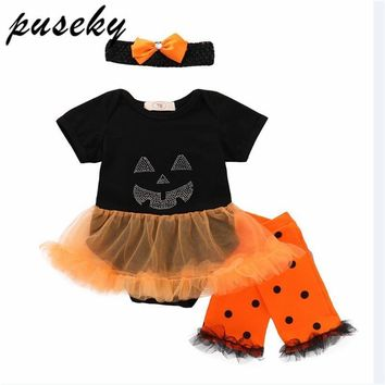 Hot sale Halloween Baby Costume Baby Girls Rompers Newborn Halloween Pumpkin Jumpsuits Dress Cartoon Printed Baby Rompers