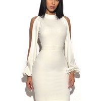 White Cut Out Sleeve Stretch Crepe Dress