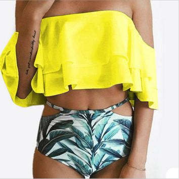 Bikini New Doubledeck flouncing Swimsuit plus size XXL bathing suit sexy women High waist swiming suits Off Shoulder Swimwear B104491-1 Yellow