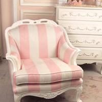 SOLD Shabby Sweet Pink and White Striped Chair - $695 - The Bella Cottage