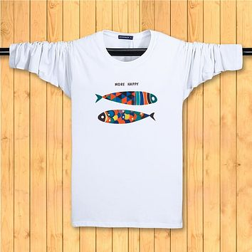 Funny Fish Top Tee man t shirt Spring and Autumn Men's casual long sleeved