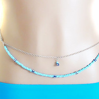 beaded belly chain, bikini jewelry, body chain, sexy jewelry, beach body chain, summer jewelry, adjustable