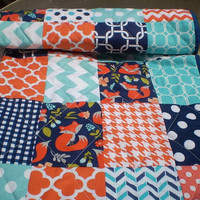 Modern baby quilt,Patchwork crib quilt,Rustic,woodland,teal,aqua,navy blue,orange,baby boy or girl bedding,toddler,chevron,foxes,Fox Trot