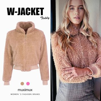 Muximux 2018 Winter Women Bomber Jacket Autumn Long Sleeve Casual Fall Teddy Jacket Coats For Women W81Q427B
