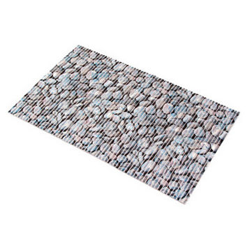 Cuttable Thick PVC Anti-skidding Floor Ground Mat black white stone