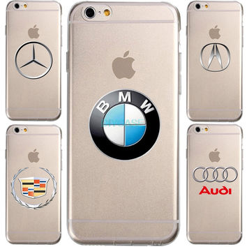 New Hot For BMW Honda audi Logos Transparent  For IPhone 7 7 plus 6 6S Plus Phone Case Ultra slim silicone Tpu Phone Cover
