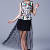 Tiger Tee Flounced Hem Blouse and Black Mesh Maxi Skirt