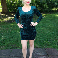 80's Vintage Emerald Green Velvet Mini Dress Long Sleeve