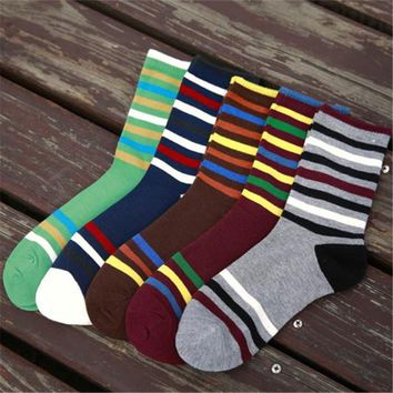 NEW fashion autumn and winter collection men socks color stripes male socks men cotton socks 5 color