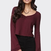 Kendall & Kylie Bell Sleeve V-Neck Top - Womens Tee - Red