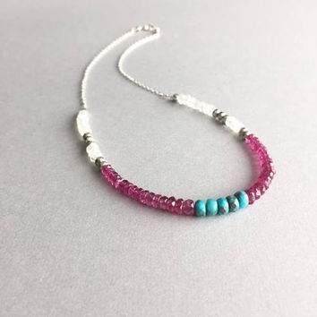 Pink Gemstone Choker, Tourmaline Turquoise Moonstone, Boho Beaded Necklace, Summer Festival Jewelry, October Birthstone Gifts For Women