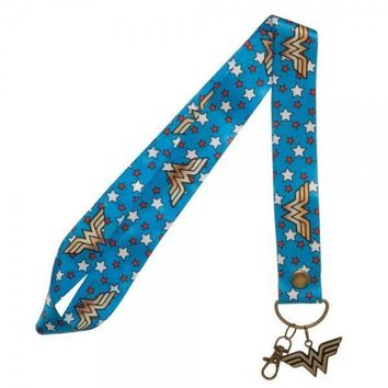 Wonder Woman Wide Lanyard with Metal Charm