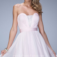 Short La Femme Strapless Homecoming Dress
