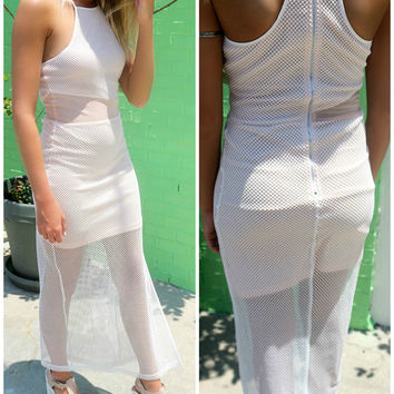 Naples Tide Mesh White High Slit Maxi Dress