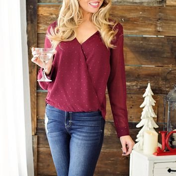 * Happy Holidays Blouse Twinkle Top: Wine