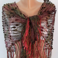 ON SALE Burgundy  lace and Elegance Shawl / Scarf - with Lace Edge