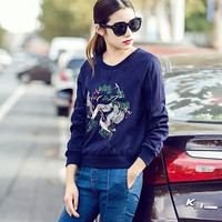 Winter Women's Fashion Embroidery Hoodies [6512887175]