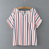 Vertical Stripe Short-Sleeve Blouse With Pocket