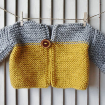 Baby Sweater, Newborn Sweater, Baby Pullover, Handknit Baby Sweater, Grey, Mustard Yellow, Children Clothing Wood Button