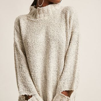 Boucle Knit Mock Neck Sweater