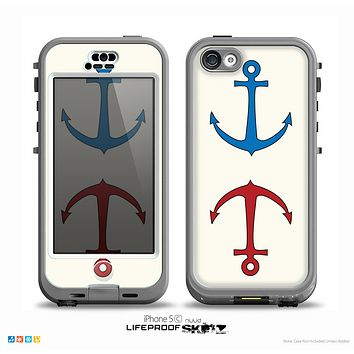 The Blue and Red Simple Anchor Pattern Skin for the iPhone 5c nüüd LifeProof Case
