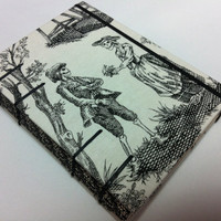Skeleton Lovers Toile Fabric - Handmade Journal Notebook - Coptic Stitched