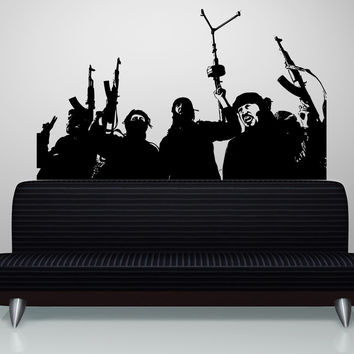 Vinyl Wall Decal Sticker Guns Up Group #5235