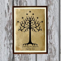 White Tree of Gondor print LOTR decor Fantasy illustration 8.3 x 11.7 inches