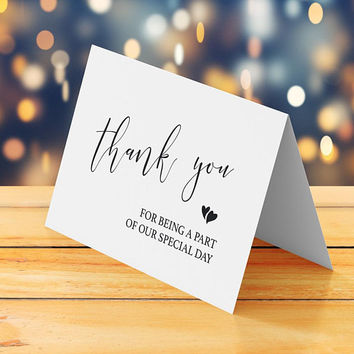 Wedding thank you card printable, Instant download, Thank you for being a part of our special day, Thank you note for wedding guests vendors