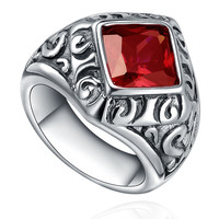 Stainless Steel Vintage Red Cubic Zirconia Ring