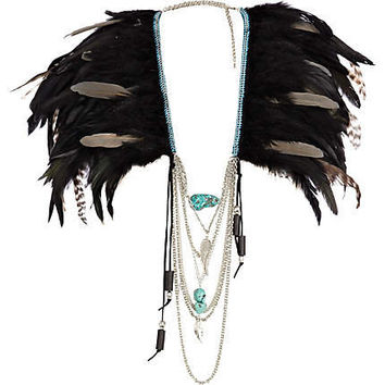 Black feather draped chain cape - collars / capes - jewelry - women