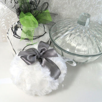 BODY POWDER SET - pewter grey and white puff vintage style - with glass dish
