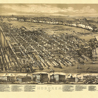Old Map of Hoboken New Jersey 1881 Hudson County