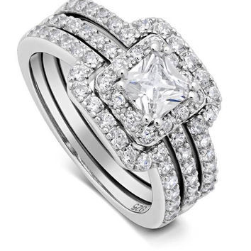 Princess Cut Center Stone CZ Sterling Silver Band Engagement Ring Flawless Love