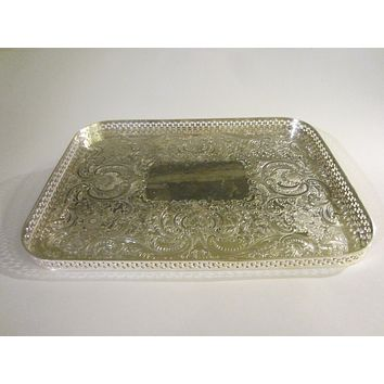 Barker Ellis England Art Deco Silver Serving Tray Floral Etching Filigree Border Marked