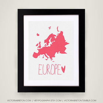 Europe - 11x17 typography print - modern art - travel print - european poster - map print - italy map - france map - spain map