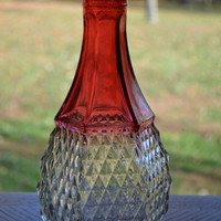 Cranberry Glass Diamond Pattern Decanter Bottle
