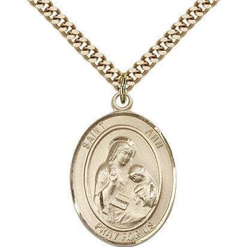 "Saint Ann Medal For Men - Gold Filled Necklace On 24"" Chain - 30 Day Money Ba... 617759801989"
