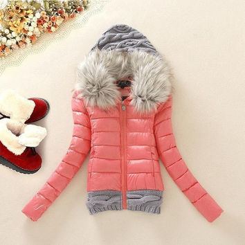 New Brand 2014 Winter Autumn thickening Hood Short Design Wadded Coat Large Fur Collar Down Jacket Cotton-padded Patchwork Parka = 1754097156